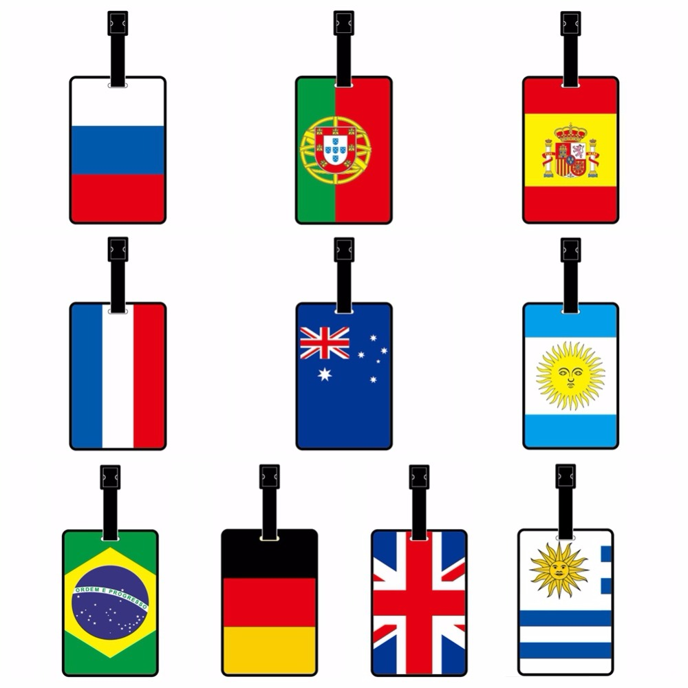 2018 World Gift PVC Soft Luggage Bagage Luggage Tag Brazil Portugal Russia Spain France Argentina Germany Brazil United Kingdom