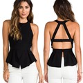 2016 Summer Women T Shirtss Strapless black Color Casual Ladies Shirts Sexy Backless Strap Chiffon T Shirts Crop Tops Ladies' V