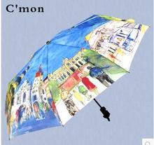 Creative Oil Painting Umbrella 3 Folding Van Gogh Painting Rain Umbrella Luxury Fancy Brand Fashion Parapluie