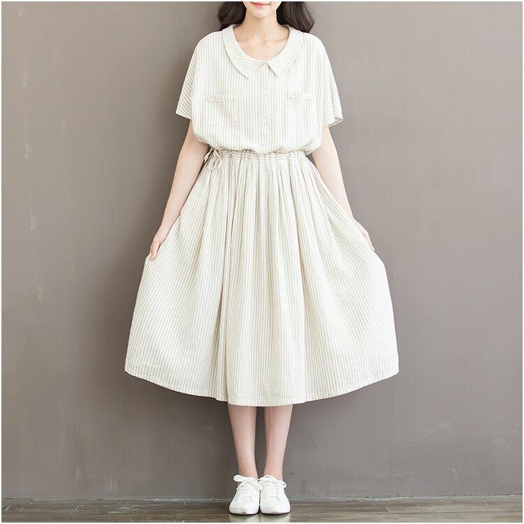 New Summer Beige Stripes Dress 2017 Women Doll Collar Clothing Short Sleeve Cotton Vintage Dresses Mori Girl Style