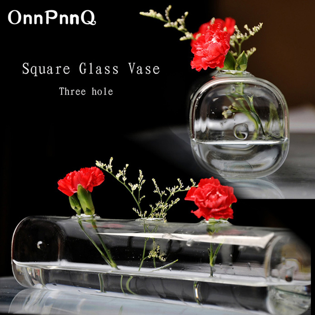OnnPnnQ Tabletop Square Glass Vase 3 Holes Clear Glass Flowers Decorative European Living Room Bedroom Study Balcony Glass Vases