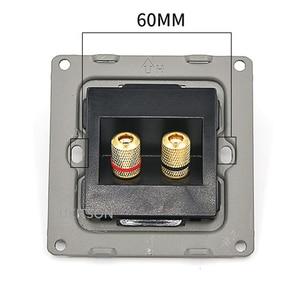 Image 4 - Czarny kolor 2 porty złącze głośnika panel ścienny metalowa rama Audio dźwięk wtyczka płyta czołowa 86x86mm