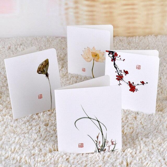 3 Pcslot Chinese Painting Lotus Postcard Birthday Letter Envelopes