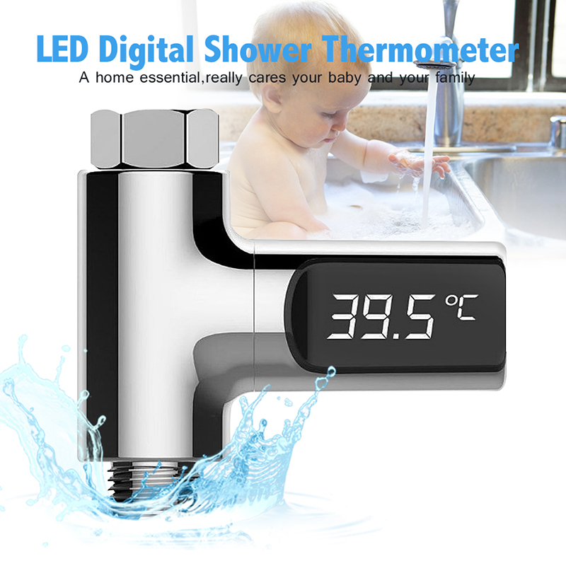 LED Display Home Water Shower Thermometer Water Temperture Monitor Battery Free Baby Care Temperature Sensor