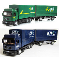 Double section engineering transport vehicle model alloy chi'na post van container logistics vehicle children's toy car W75