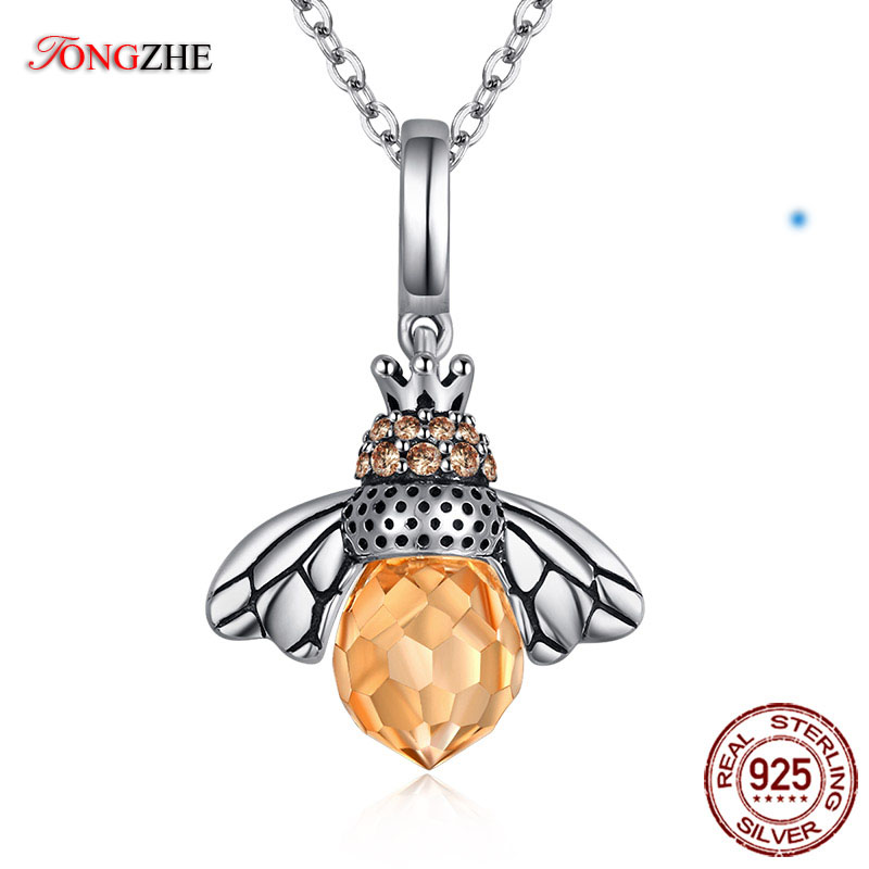 TONGZHE 925 Sterling Silver Necklace Women Orange Honey Bee Animal Charm Choker Necklaces Pendants Fine Jewelry Products