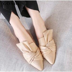 Image 3 - Women Sandals Summer Female Flat Shoes Flock Bowtie Slippers Ladies Fashion Low Heels Mules Elegant Blue Sandales Femme 2020