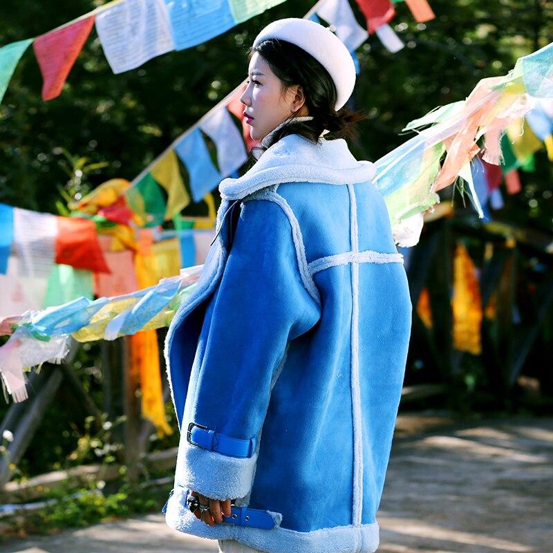 Supérieure Livraison Gratuite Chaud Vêtements Longues Manteaux En Manteau De Qualité À Mode Cachemire Pour Manches Daim 2019 Vestes Bleu Femmes Sortie D'hiver Nouvelle 5j3Lq4AR
