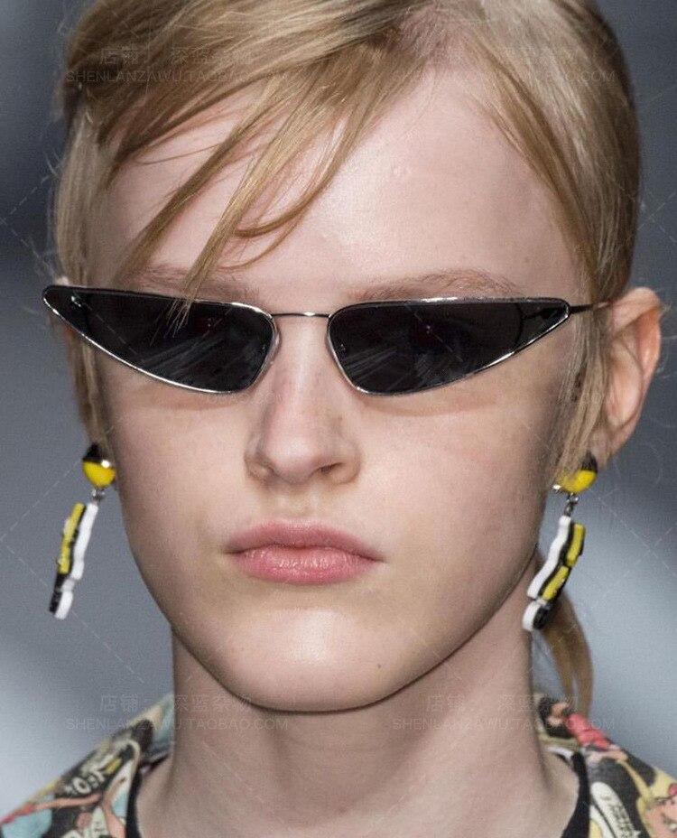 NEW Unisex Flat Top Small Triangle Metal Fram Sunglasses Women Cat Eye Vintage Sun Glasses Brand Designer Gafas UV400