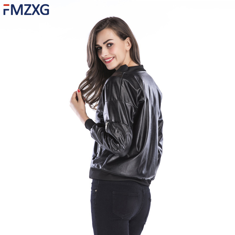 Pu Leather Bomber Jacket Women Fashion Bright Colors Black