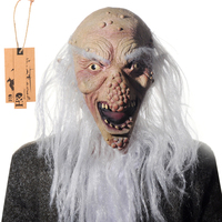 Full Face Cosplay Scary Long Beard And Bald Old Man Ghost Latex Mask Horror Masquerade Adult