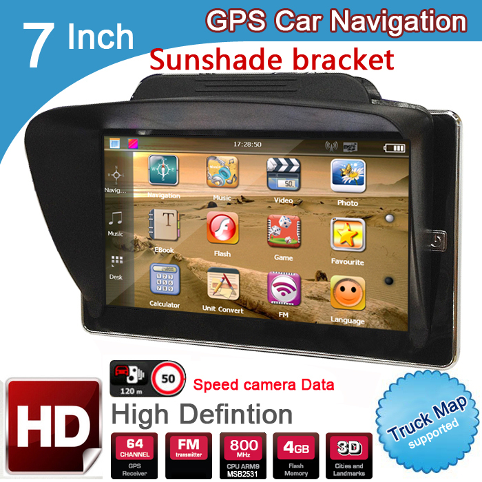 цена на New 7 inch HD Car GPS Navigation 8GB/DDR3 2018 Maps For Europe/USA+Canada with Sunshade Sunshield bracket Truck Camper Caravan