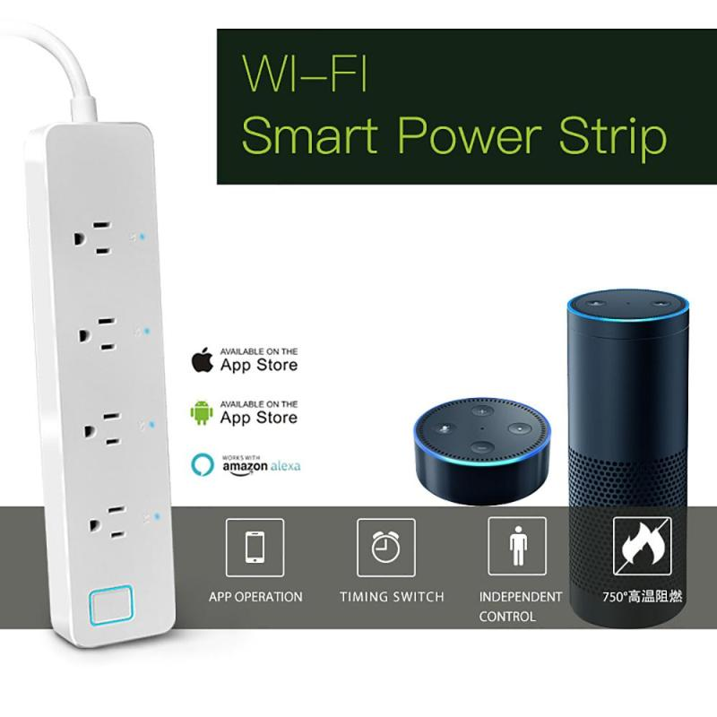 US Plug WiFi Smart Socket For Amazon Alexa Voice App Control Timing Separately Control Link Mode 4 Outlet External Power Strip lemaic wifi smart socket t support amazon w app alexa voice control remote control timing function for ac 110 240v us plug