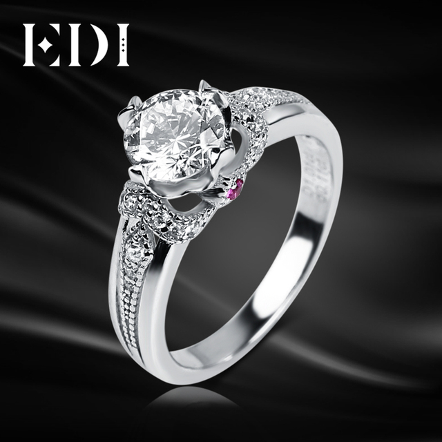 EDI Unique Ruby 14K White Gold Ring Moissanites 1CT Round Cut