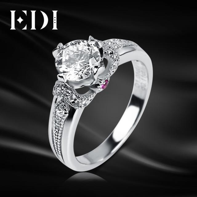 EDI Unique Ruby 14K White Gold Ring Moissanites 1CT Round Cut
