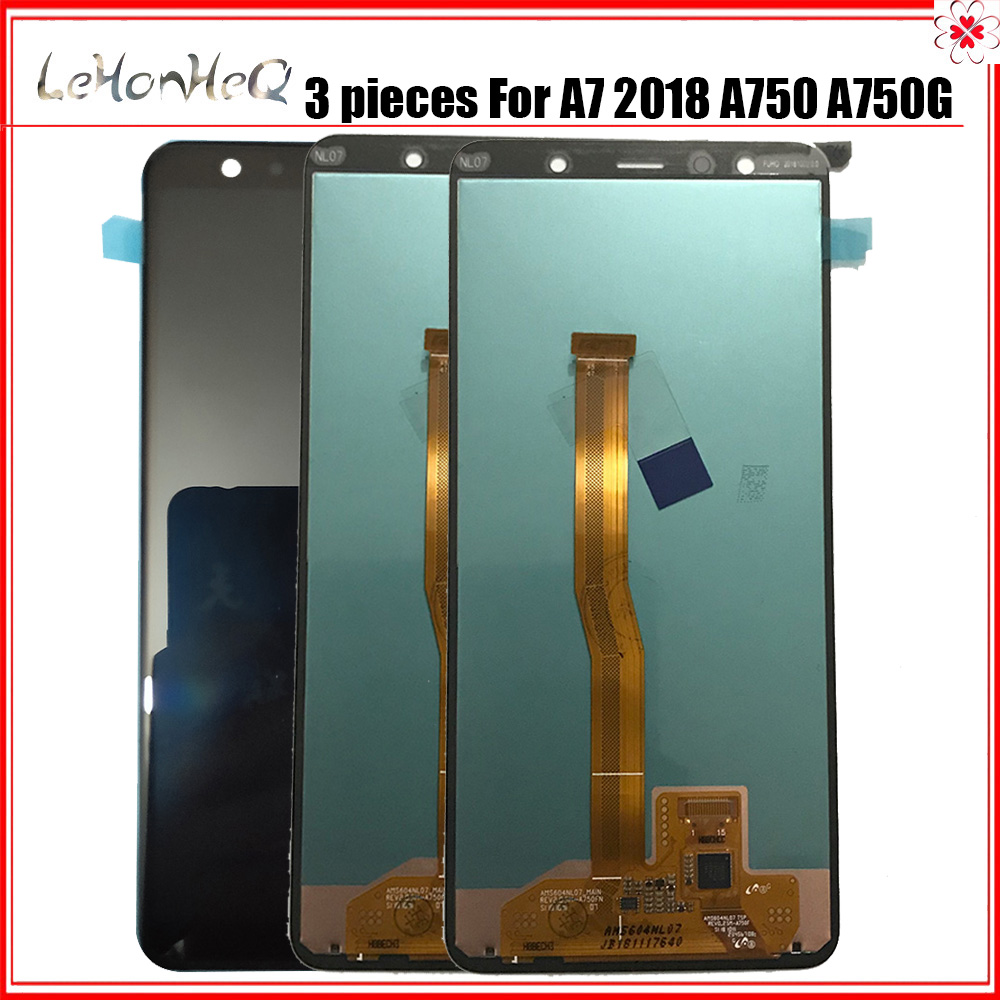 3 Pieces/lot AMOLED LCD For Samsung Galaxy A7 2018 A750 A750G LCD Display Touch screen Digitizer Assembly For samsung A750 LCD