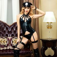 JSY black leather babydoll cop suit bodystocking role playing costumes erotic police uniform sexy underwear for adult women 6313