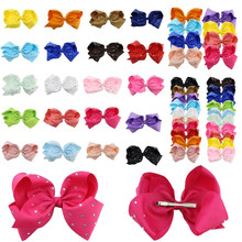 Wholesale 5pcs/Lot Handmade Ribbon Barrettes Clips Boutique Girls Women Big 8 inch Hair Bow Clip Hairpins Accessories