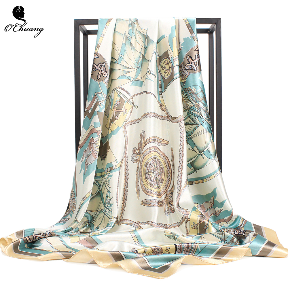 O CHUANG Women Scarf 90*90cm Square Head Scarves Luxury Brand Quality Female Foulard Satin Silk Shawls And Wraps
