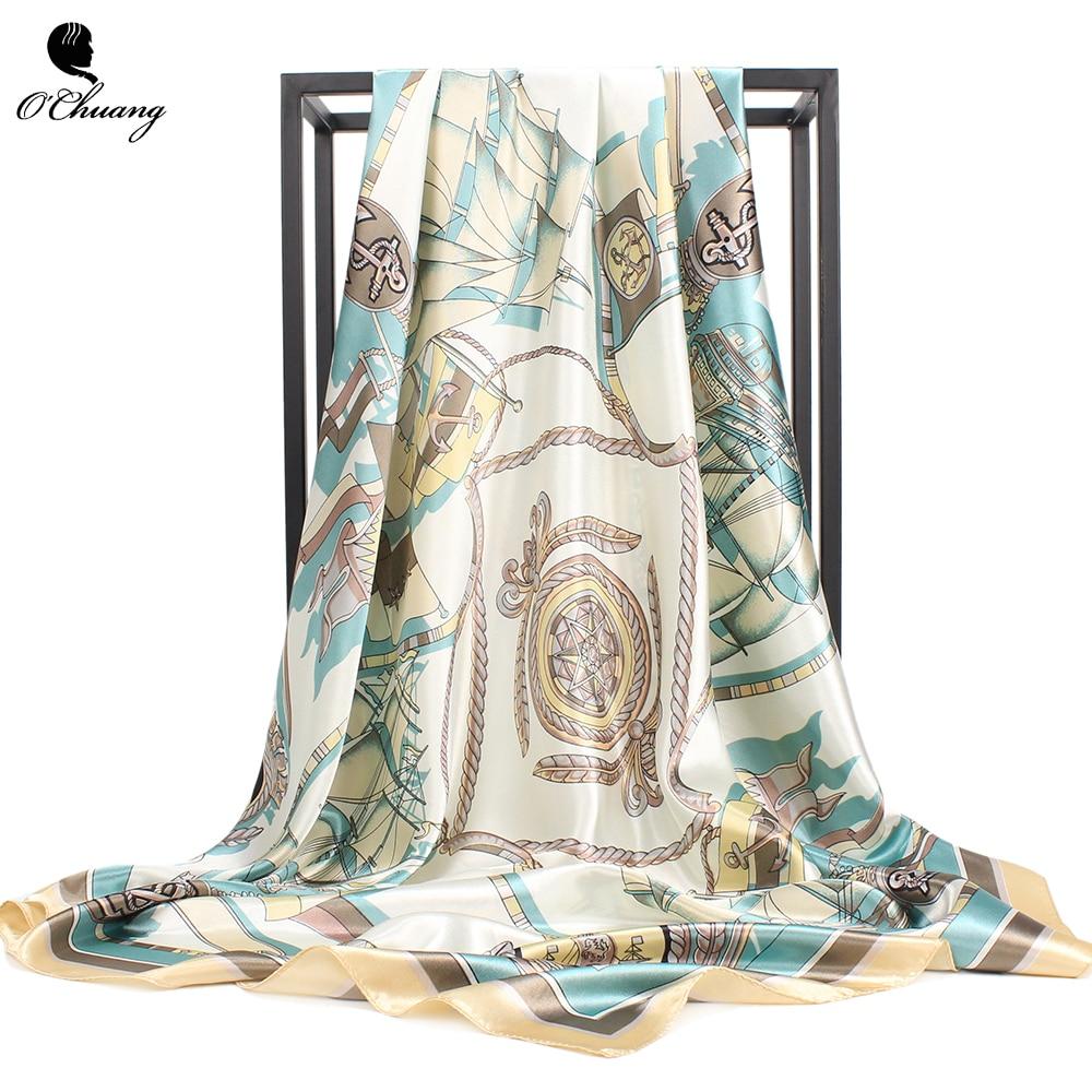 O CHUANG Women Scarf 90*90cm Square Head Scarves Luxury Brand Quality Female Foulard Satin Silk Shawls And Wraps