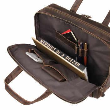 Nesitu Brown Genuine Leather Men Briefcase Messenger Bags Business Travel Bag Crazy Horse Leather 15.6\'\' Laptop Portfolio M7388
