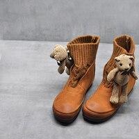 Artmu/оригинальные новые короткие ботильоны из натуральной кожи, вязаные шерстяные женские ботинки на плоской подошве, удобные милые носки, п