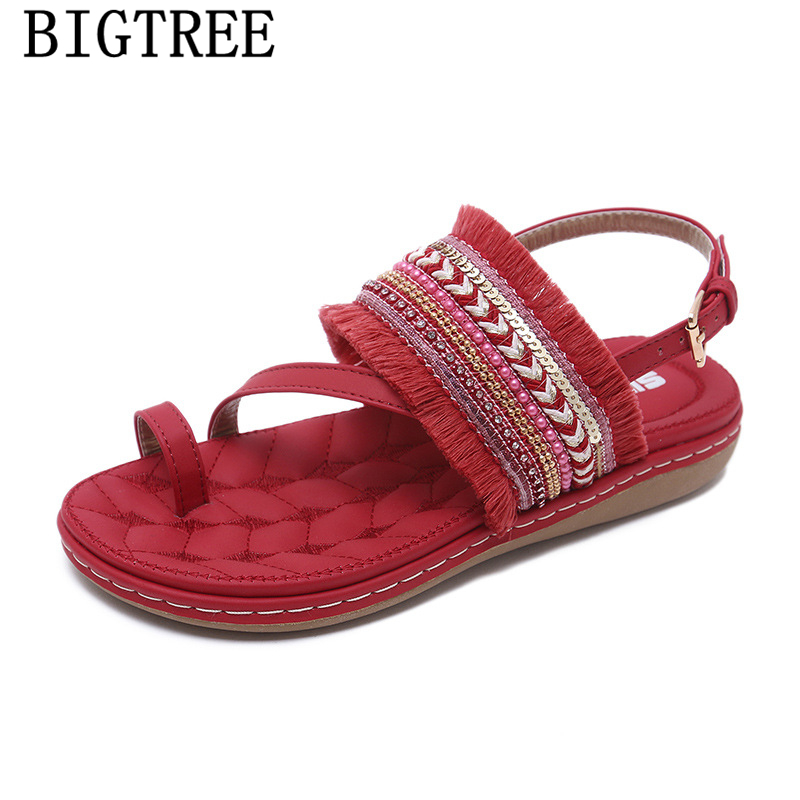rhinestone sandals glitter sandals red <font><b>sexy</b></font> bohemian <font><b>flat</b></font> sandals <font><b>womens</b></font> <font><b>shoes</b></font> summer fashion 2019 teenslippers <font><b>sapato</b></font> <font><b>feminino</b></font> image