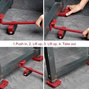 5 pièces/ensemble de Transport mobile de meubles 4 rouleau de moteur + 1 barre de roue 5