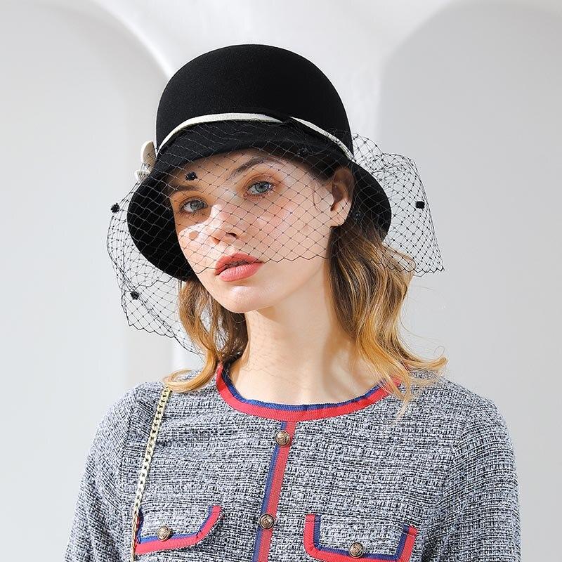 a7e85e844 Fibonacci 2018 New Brand Quality Women's Fedoras Autumn Winter Hats Wool  Felt Mesh Floral Elegant Banquet Topper Hat