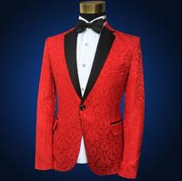 Blazer men groom suit set with pants men suits for wedding Embroidered lace singer star style dance stage clothing formal dress