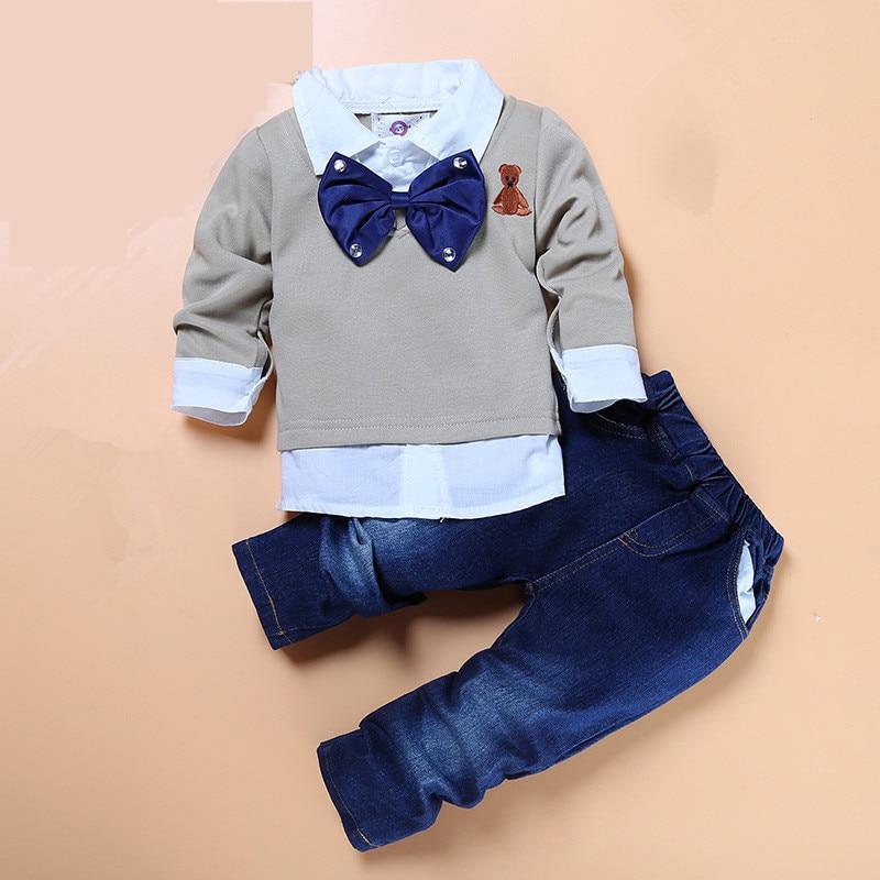 Haute qualité garçons boutique vêtements 2 pcs/ensemble enfants gentleman noeud papillon faux deux pièces shirts + beau jeans