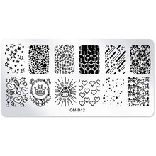 1Pcs Nail Art Stamping Image Plates Star Heart Crown Nail Stamp Stamping Plates Manicure Template Nail Art Stencil Tools OM-D12# недорого