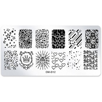 цена на 1Pcs Nail Art Stamping Image Plates Star Heart Crown Nail Stamp Stamping Plates Manicure Template Nail Art Stencil Tools OM-D12#
