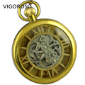 Vintage Gold Color Open Face Pocket Watch Hollow Skeleton Roman Numerals White Dial Mechanical Pocket Watch