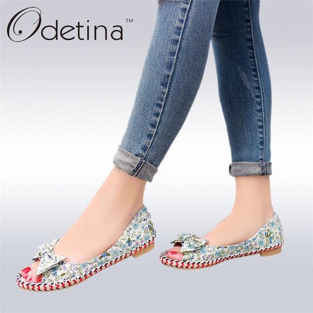 68fbb6ddcc2 Odetina 2018 Summer Women Sweet Flats Bow Tie Canvas Shoes Open Peep Toe  Flat Shoes Flower Hemp Sole Slip on Loafers Big Size 43