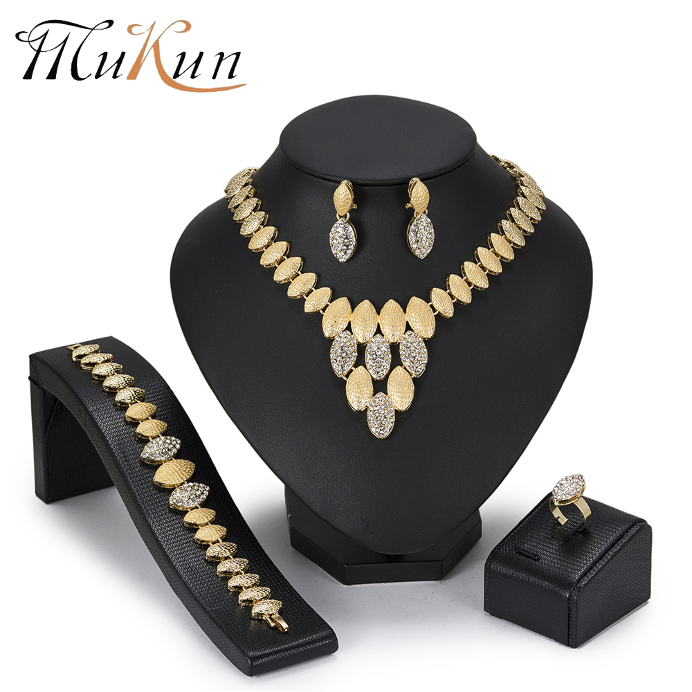 MuKun African Beads Dubai Jewelry Set Gold Color Nigeria Jewelry Sets Women Turkish Costume Jewelry Fashion 2018 New Arrivals
