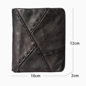 Image 5 - AETOO Handmade leather wallet men short section vertical zipper personality men money wallet youth vintage male Vintage wallet