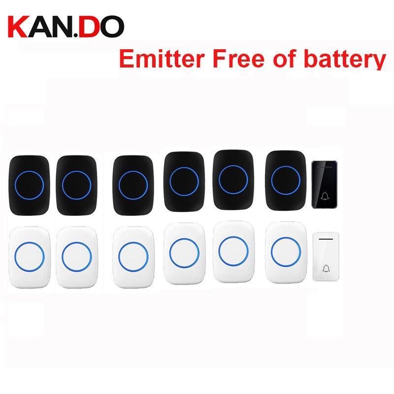 Wholesales 6 Receivers Wireless Door Bell Emitter Free Of Battery Wireless Doorbell Ip44 200M Work Door Chime Door Ring 110-240V
