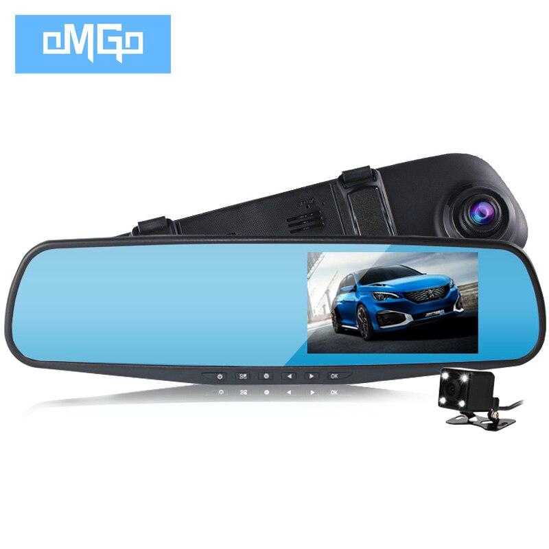 imágenes para Doble lente coche cámara de visión trasera espejo full hd 1080 p noche auto visión dvrs aparcamiento de coches dvr grabador de vídeo registrator rociada cam
