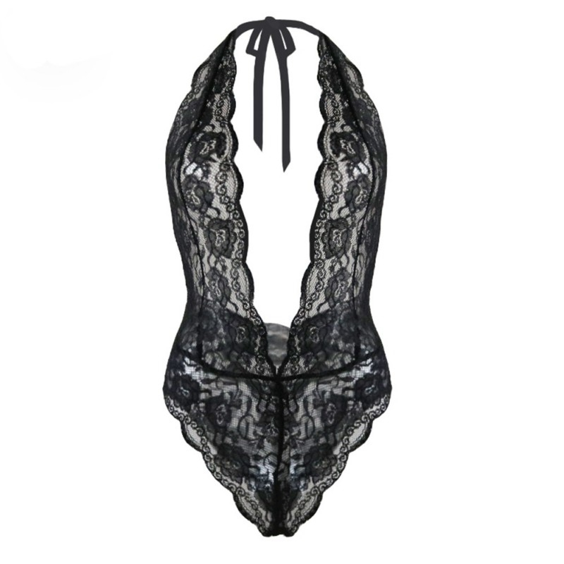 New Babydoll Sexy Teddy Jumpauits Women Lace Transparent Erotic Deep V Halter Bodysuits Backless Temptation Costumes Rompers