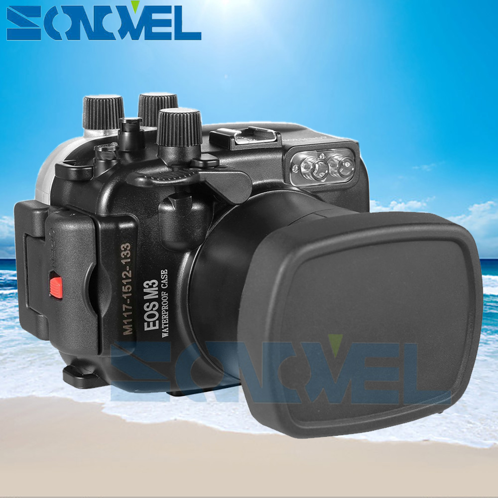 Meikon 40m 130ft Waterproof Underwater Diving Case Camera Housing Case For Canon EOS M3 With EF-M 18-55mm Lens waterproof underwater housing camera diving case for canon eos m 18 55mm lens meikon