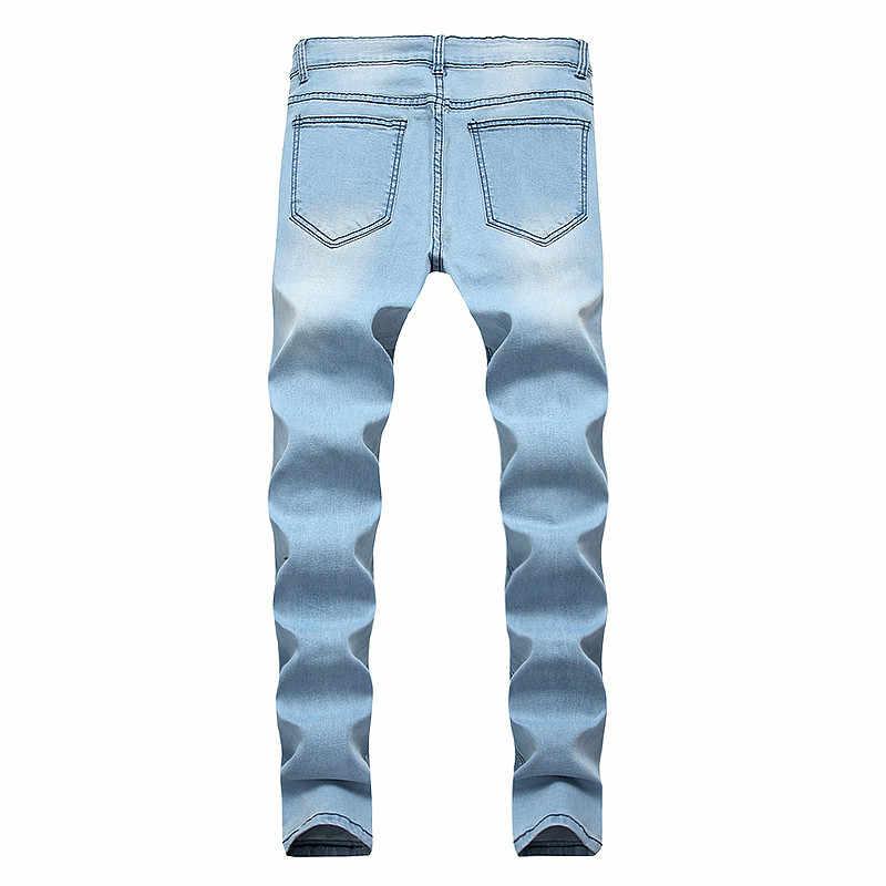 Hombres Fit Jeans Parches Recta Ripped Y Patchwork Agujeros Pantalones Con Slim Rotos Bordado Destruido Pierna pMjSVzGLqU