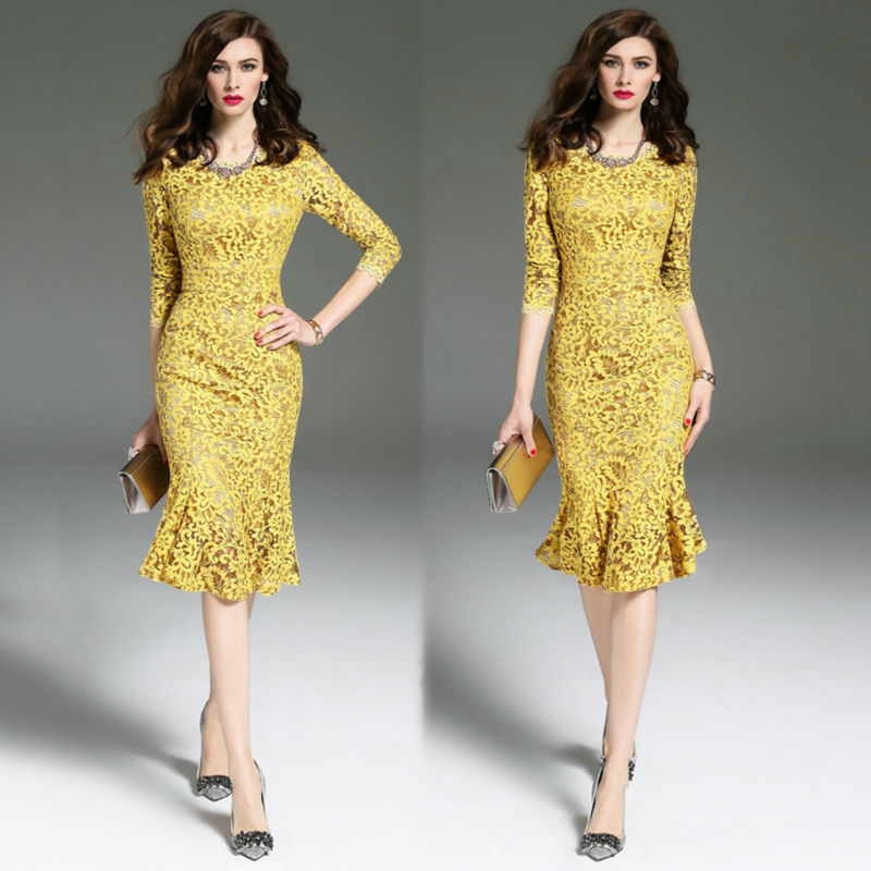 Fashion Persian style Womens Lace Printing Formal Cocktail Pageant yellow Dress