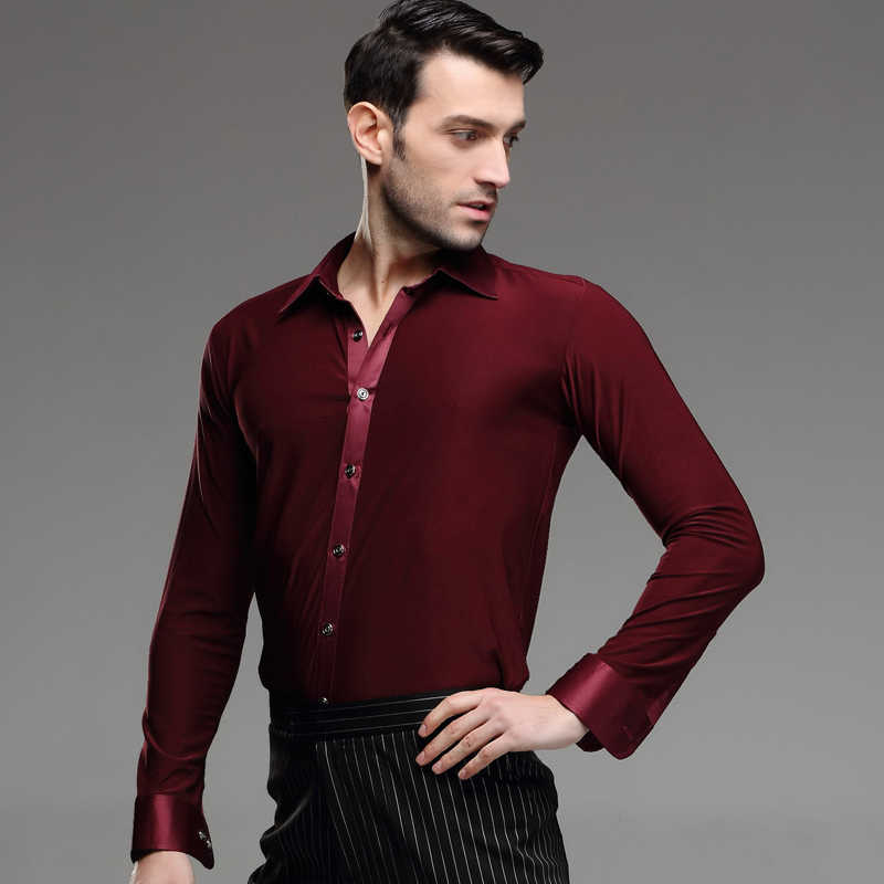 Männer Tanzen Hemd Frühling und Sommer Red Shirt Erwachsene Männliche Latin Dance Modern Dance Kostüm Rumba Samba Tanzen Anzug b-4217