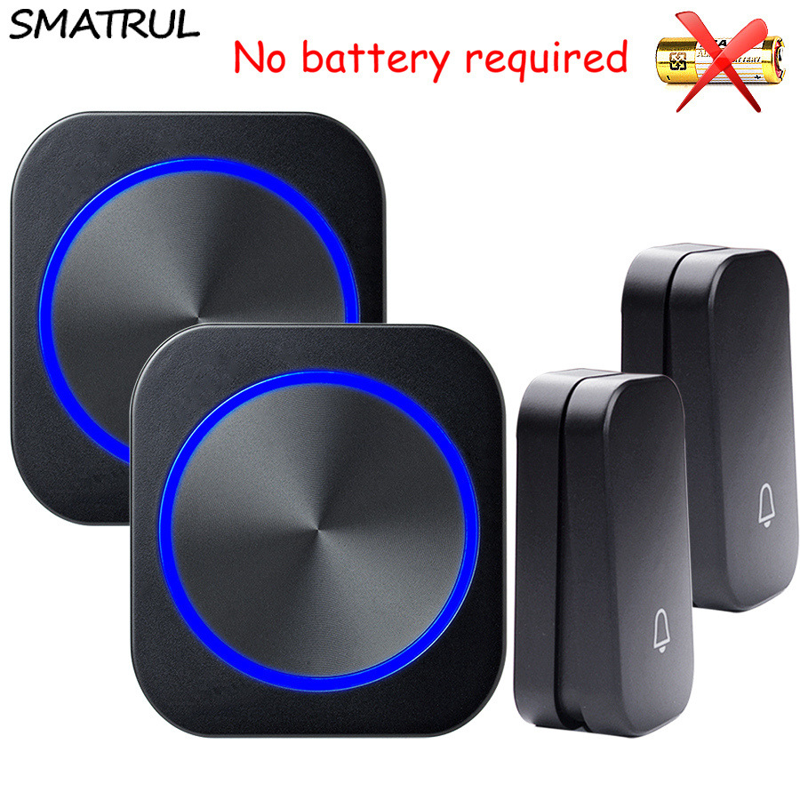 цены SMATRUL self powered Waterproof Wireless DoorBell night light no battery EU plug home smart Door Bell chime 2 button 2 Receiver
