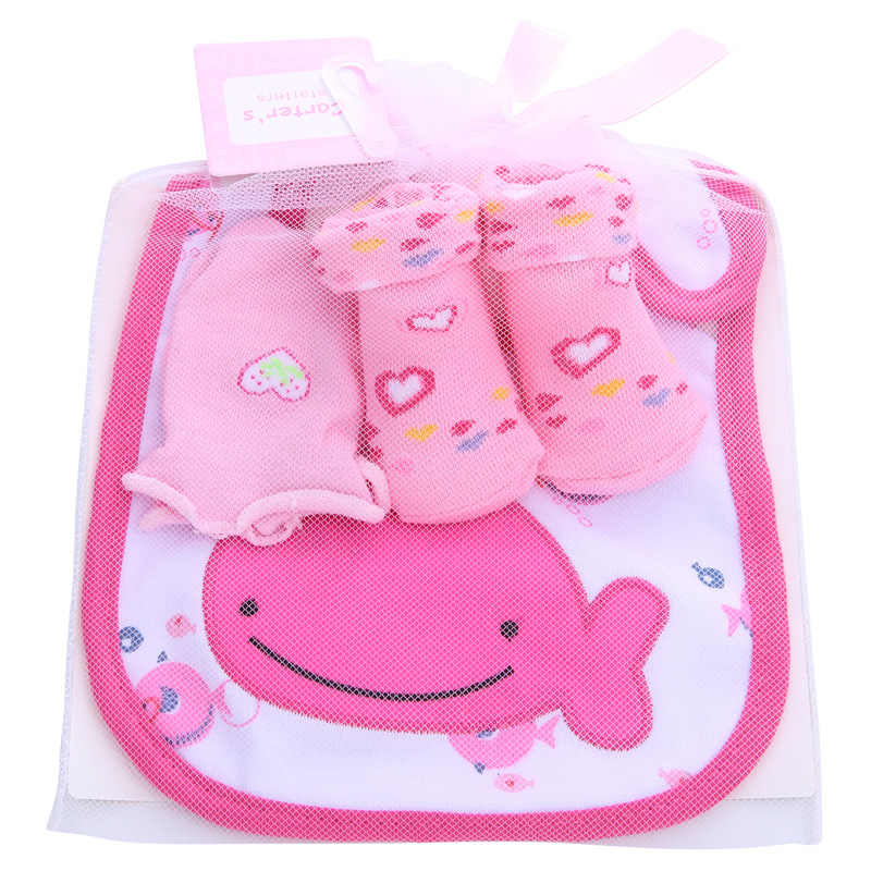 1 torba bebek pamuk önlükler havlu çorap setleri yenidoğan çocuklar geğirmek bezler + çorap + Anti-scratch eldiven erkek kız noel doğum günü hediyesi