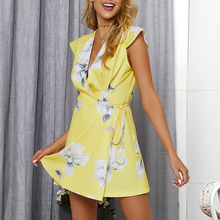 купить Kimuise wrap flroral print boho dress for women mini belted cap sleeve beach sundress 2019 casual loose summer dress vestiods по цене 1115.7 рублей