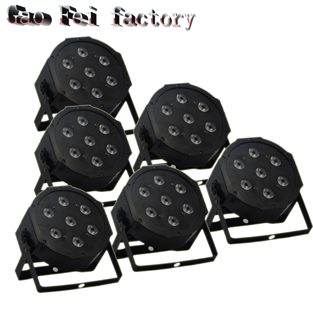 DMX Control LED Par 7x12W RGBW 4IN1 Luxury DMX 8 Channels LED Flat Par Light (6pcs/lot)
