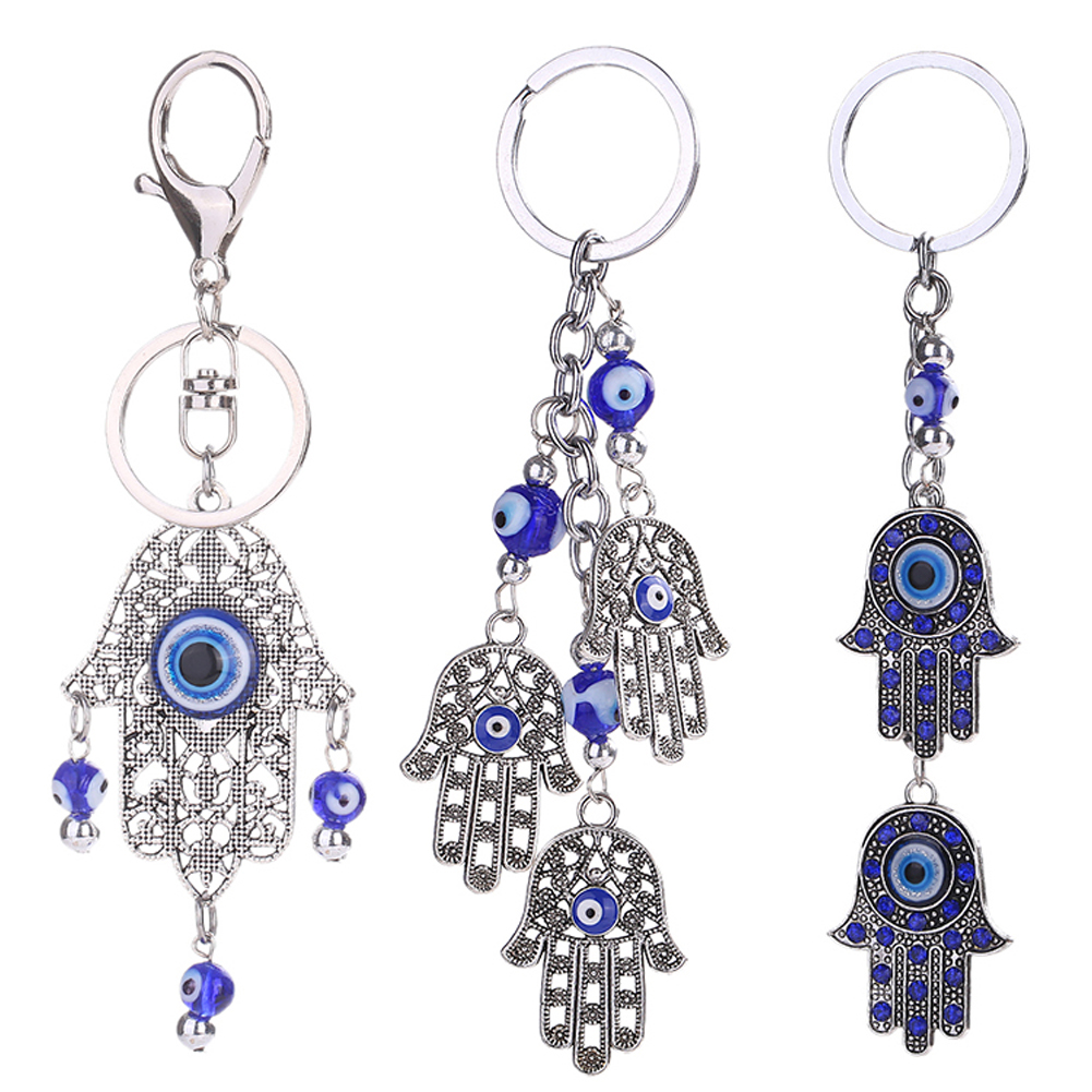 Smart Hands Keychains Classic Evil Eye Alloy Hand Charm Ornaments Keyring Jewelry Holder for Car bag