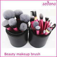 Free Shipping 22pcs Professional High Quality Makeup Brush Set With Cylinder Case Sedona Brand Synthetic Hair
